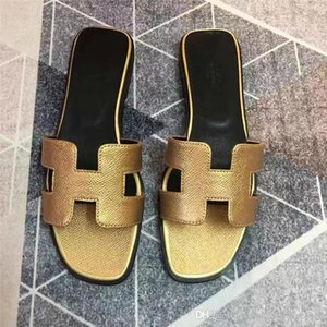 With box Slippers Sandals Flat shoe Real leather Slides Best Quality Slippers Sandals