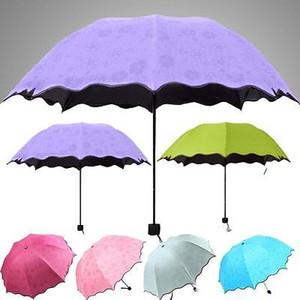 Nouveau délicat multi-fonctions Umbrella Lady Princesse magique Fleurs Dôme Parasol Soleil / pluie pliant parapluie pour les femmes