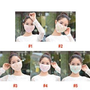 Femme dentelle Masque Mode Coton Masques Visage Crème solaire anti-UV été Lavable broderie vélo Masque DHL Expédition DHB90