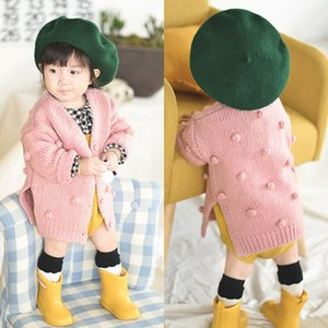 Toddler Baby Girl Solid Yellow Long Sleeve Button Pocket Knitted Cardigan Sweater Fuzzy Ball Coat Jacket Warm Outerwear