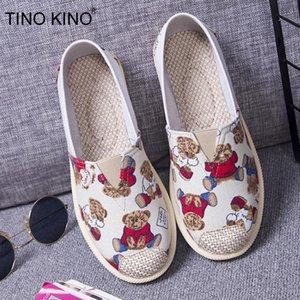 TINO KINO casual deslizamiento holgazanes de los planos Mujer lienzo En la parte inferior suave zapatos perezosos mujeres de confort zapato bajo señoras de la plataforma de otoño
