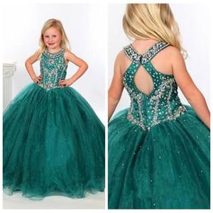 Sparkly wulstige Sequins Blumenmädchenkleider für Hochzeiten O-Ansatz Reißverschluss-Rückseite vestidos de niña Lange Tüll-Festzug-Partei-Kleider