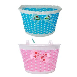 2 Pcs Children Bicycle Basket: 1 Pcs Blue Bike Flowery Front Basket Bicycle Cycle Shopping Stabilizers & 1 Pcs Pink Children Bic