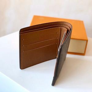 titular do cartão Designer mens carteira curto carteiras de couro genuíno forro cheque letra lona marrom Multifunction bolsa de moedas de luxe loui carteira