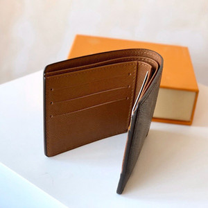 Mens Designer Brieftasche Kartenhalter kurze Mappen-echtes Lederfutter braun Brief Scheck Leinwand Multifunktionsgeldbörse de luxe loui Portemonnaie