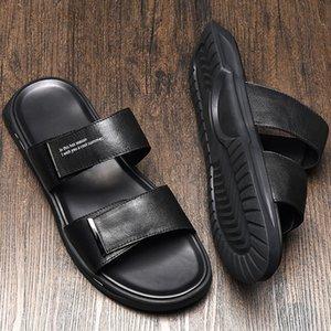 moda verano del cuero genuino de los pantalones y las zapatillas de los hombres apretados de las polainas de moda las sandalias perezosas sandalias antideslizantes de cuero de vaca