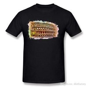 Man especial 100% algodão de Roma Colosseum Camiseta Homem Crewneck Grey T-shirt de manga curta 5XL Casual T Shirt