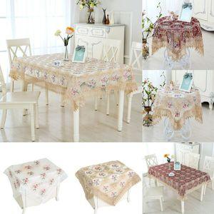 수 놓은 꽃 패브릭 컷 워크 라운드 식탁보 흰색 레이스 테이블 천으로 커버 표 스커트