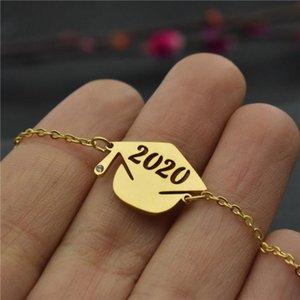 Presentes Minimalismo 2020 Dr chapéu da graduação Pulseira Para Mulheres Melhores amigos Jóias graduação de aço inoxidável pulseira de ouro Femme