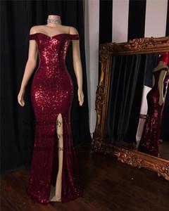 2020 Günstige Burgundy Sequin-Nixe-Abschlussball-Kleider Afrikanische Schwarz-Mädchen-Frauen-Abend-Partei-Kleider mit Sexy Split Formal Gala-Kleid