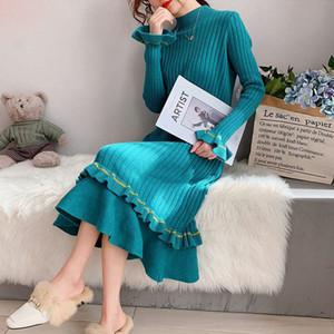 Eachin Herbst-Winter-lange Pullover Frauen beiläufige mit Kapuze Langarm Raff Strickkleid Mode schlanke Partei-Pullover-Strickjacke