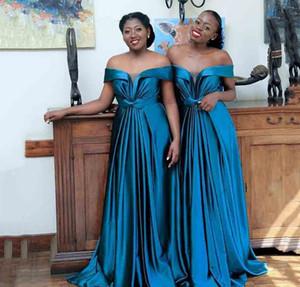 2020 africaine robes de demoiselle d'honneur de l'épaule Printemps Eté Campagne Garden Party mariage formel Invité Robes Plus Size Custom Made