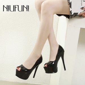 NIUFUNI Platformu Peep Toe Kadın Siyah Pembe Şık Stiletto Yüksek Topuklar Pumps Büro Düğün Ziyafet Kadın Ayakkabı 34-39