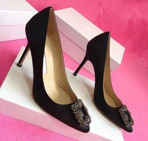 Sıcak satış-Tasarımcı Parti Düğün Ayakkabı Gelin Kadınlar Bayanlar Sandalet Moda Seksi Elbise Ayakkabı Sivri Burun Yüksek Topuklar Deri Glitter pompaları