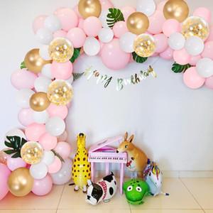 OHEART 120pcs Arco Kit de boda Globo de Oro Garland confeti Globos Artificial hojas de palma Cumpleaños Baby Shower Decoración