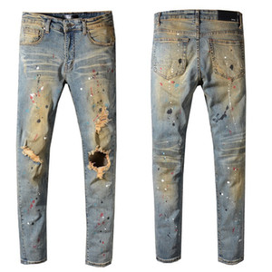designer france street tide AMIR hip-hop jeans European and American Amiri splashed paint color washed jeans hole embroidered