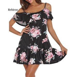 Femininos hombro Rebicoo vestidos de verano de las mujeres atractivo fría floral impreso vestido mini vestido de la correa de espagueti de la playa vestidos