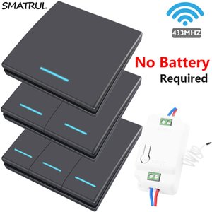 SMATRUL 자체 전원 무선 조명 스위치 램프 433MHZ 스마트 푸시 RF 원격 제어 (110) 220V 집 벽 패널 배터리 없음 1 개 2 갱 T200605가