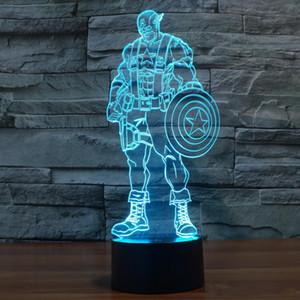 Interruttore tattile a LED a 7 colori a cambiamento graduale di Captain America 3D Visualizzazione Illusion Atmosphere Light Lampada da tavolo per interni ed illuminazione