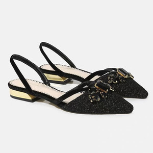 Womens Pointed Toe Sequins Bling Rhinestones Diamond Low Heel Sandals Slingbacks Shoes Black Summer New Arrival M02