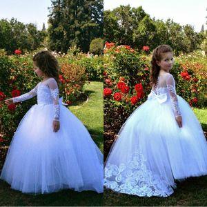 Симпатичные Формальные Белый Цветок Девушка Платье Тюль Первое Причастие Крещение Маленькая Девочка Кружева Принцесса Ребенок Малыш День Рождения Платье