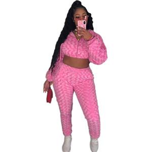 Rose Velvet Mulheres Designer Fatos 2 Pedaço Pants ternos doce Sexy Magro Manga comprida com capuz Zipper Moda feminina Fatos