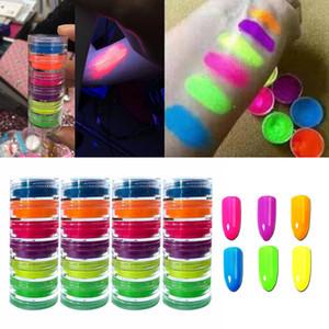 6Color polvo del brillo del clavo de neón Pigmento gradiente del brillo iridiscente de uñas de acrílico en polvo profesional pulimento Decoración July26