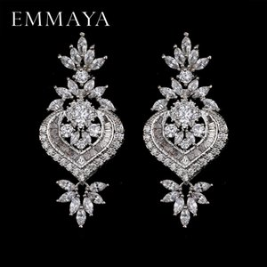 EMMAYA New Arrival Luxury Big Long Flower Pendant Drop Earrings With Shining CZ Brincos Bridal Women Wedding Party Jewelry CX200606