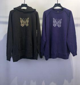 Женские мужские дизайнерские толстовки 19AW иглы ROCKY Butterfly Print фиолетовый коричневый круглый вырез толстовка с капюшоном свитер модный бренд Hoodie