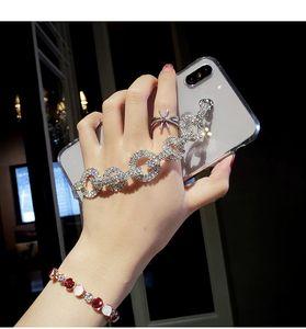 Bling Rhinestone Алмазный браслет цепи Crystal Case для iPhone 11 Pro XS Max XR X 8 7 6S Plus Samsung Galaxy Note 10 9 8 S10e S10 / 9/8 Plus