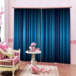 3D غرفة المعيشة الستار تأثير مختلف المشارب الأزرق في عمودي المشارب HD الرقمية طباعة 3D جميل التجهيل الستائر