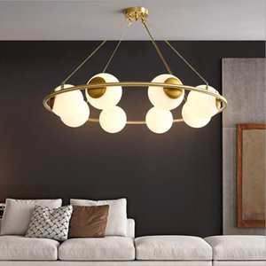 All copper chandelier individual creativity modern simple living room bedroom dining room lamp glass brass chandelier