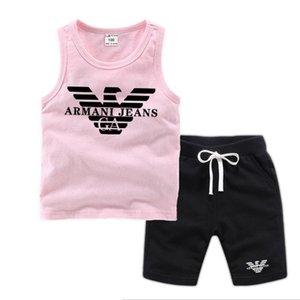 Çocuk Yelek Erkek Ve Kızlar Tasarımcı tişörtler Ve Şort Suit Marka Tracksuits kapsayacak 2 Çocuk Giyim Seti Sıcak Satış Moda Yaz Çocuk