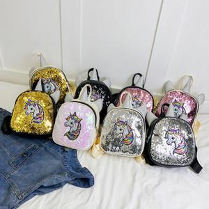 Estudante dos desenhos animados Unicorn Backpack volta à escola caçoa Shoulder Bag Handbag estudante do arco-íris Unicórnio lantejoulas estilo da menina Mini Backpack