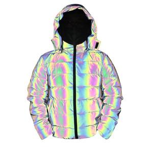 Erkek Parka Yansıtıcı Kış Kalın Pamuk Coat Erkekler Yansıtıcı Renkli Işık Su geçirmez Windproof Kalınlaşmak Sıcak Palto Kapşonlu Ceket tutun
