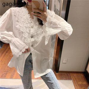 Gaganight Dantel Kadınlar Beyaz Bluz Uzun Kollu V Yaka Şir Ofis Lady Bahar blusas Chic Kore Moda Bluzlar Vintage Şık