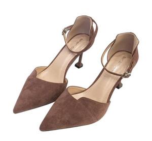 Bombas Buckle Womens As mulheres vestem sapatos de salto alto Micro suded dedos apontados senhoras sapatos de salto zy9051