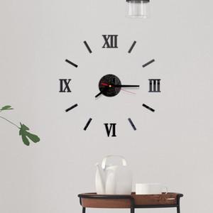 Números Modern Frameless DIY Wall Clock romanos adesivo 3D superfície do espelho Adesivos decorativos silencioso agulha para a Home School Offic