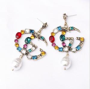 Orecchini Designer famosi con perla di cristallo Big G Lettera orecchini gioielli per le donne Rosso Verde Bianco Giallo pietra colorata per partito