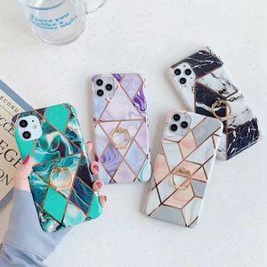 Geometrik Kaplama Mermer Örnek için Iphone 11 XS MAX XR x 8 7 6 360 Parmak metal halka + lüks Hibrid Yumuşak TPU İMD Kaya Tutucu Krom Kapak