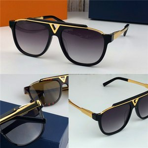 La última venta de gafas de sol de diseñador de hombres de moda popular 0937 placa cuadrada marco de combinación de metal de calidad superior anti-UV400 lente con caja