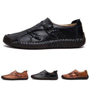 дешевые небрендовые ручной шить мужская повседневная обувь установить ноги Англия горох обувь кожа мужская обувь низкий большой