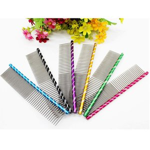 Multi-Colored Puppy Pet Grooming Comb Stainless Steel Pin Dog Cat Brush Wholesale
