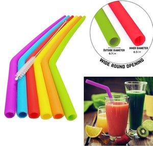 Pailles de silicone réutilisables de silicone de catégorie comestible de pailles de silicone de qualité alimentaire 30oz 20oz buvant avec des outils de boisson de partie de brosse de nettoyage