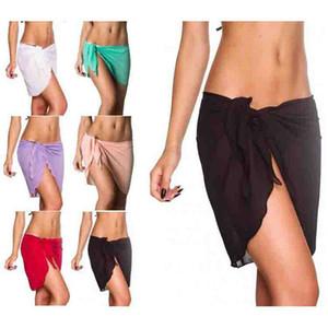 Faldas de playa de Las Mujeres de color Sólido de Gasa 2019 Verano Bikini Chiffon Wrap traje de baño traje de baño 11 colores C6721
