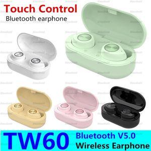 TW60 inalámbrica de Buletooth del auricular 5 macarrón de color TWS Touch Control Bajo envolvente de alta fidelidad estéreo de auriculares auriculares con la caja de carga 50PCS Headset