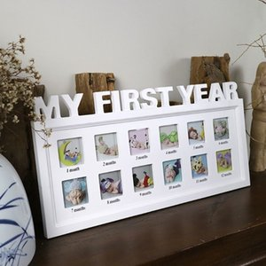 """Creative DIY 0-12 Month Baby """"MY FIRST YEAR"""" Pictures Display Plastic Photo Frame Souvenirs Commemorate Kids Growing Memory Gift T191231"""