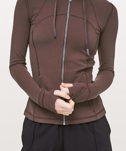LU-37 молния с капюшоном определить повседневная Беговая куртка женщины Спорт пальто с длинным рукавом йога куртка эластичный тонкий йога топ женщины спортивная рубашка