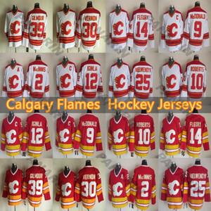 Calgary Flames Vintage version jerseys 12 IGINLA 9 MCDONALD 39 GILMOUR 14 FLEURY 25 NIEUWENDYK 30 VERNON 10 ROBERTS CCM Hockey jersey