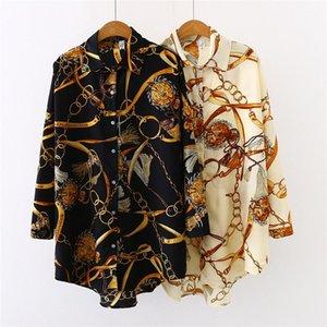 Lange Shirts Sommer-Revers-Ausschnitt Cardigan Damen Shirts beiläufige lose weibliche koreanische Kleidung Chiffon Entwerfer-Frauen